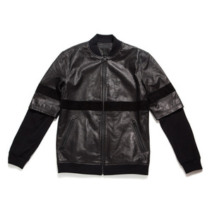 50%saleBLACK SCALE LEATHER ZIP UP