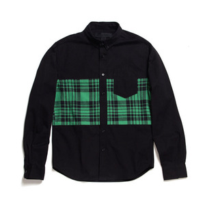 BLACK SCALE BATES BUTTON DOWN (GREEN)