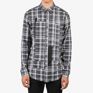 DOPE Patched Plaid Button Up BLACK/WHITE