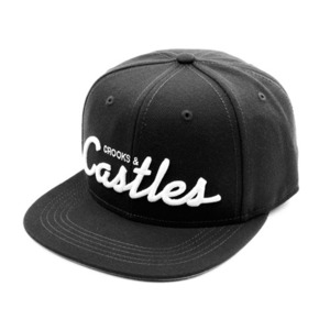 CROOKS & CASTLES Men's Woven Snapback Cap - Team Castles (Black)
