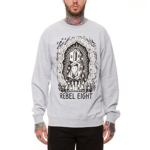 REBEL 8 WORSHIP WORTH CREWNECK (HEATHER GREY)