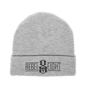 REBEL 8 LOGO BEANIE GREY