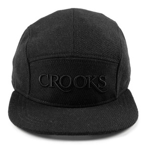 CROOKS & CASTLES Woven 5-Panel Cap - Serif Crooks Tweed (Black)