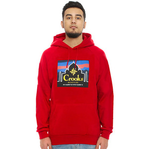 CROOKS & CASTLES Knit Hooded Pullover - Mahal (True Red)