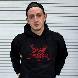 THRASHER BLACKOUT HOOD (BLACK/RED)