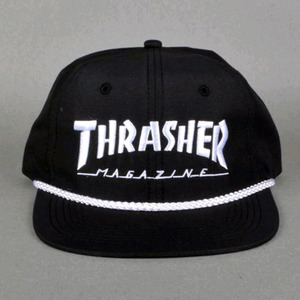 THRASHER ROPE SNAPBACK (BLACK/WHITE)