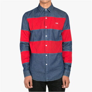 DOPE Twill Paneled Denim Button Up (Red)