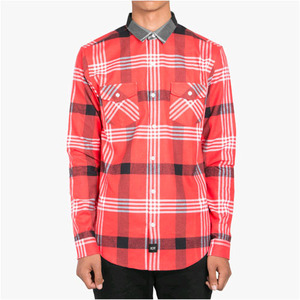 DOPE Contrast Color Flannel Button Up (Red)