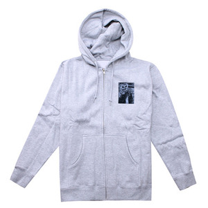 OBEY STENCIL FACE HOODED ZIP (ATHLETIC GREY)