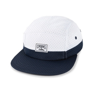 CROOKS & CASTLES Men's Woven 5-Panel Cap - Core Logo (White/Navy)