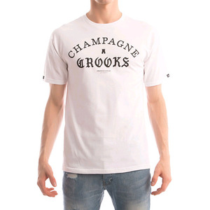 CROOKS & CASTLES Men's Knit Crew T-Shirt - Four Cees (White)
