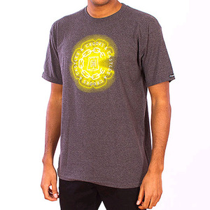 CROOKS & CASTLES Men's Knit Crew T-Shirt - Mirrors (Heather Charcoal)