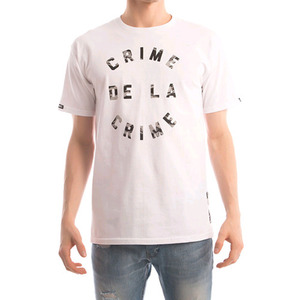 CROOKS & CASTLES Men's Knit Crew T-Shirt - Crime De La Crime (White)