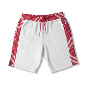 CROOKS & CASTLES Men's Knit Short- Black Moon (White/True Red Multi)