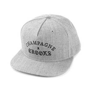 CROOKS & CASTLES Men's Woven Snapback Cap - Champagne Crooks (Speckle Grey)