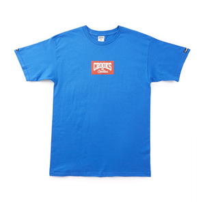 CROOKS & CASTLES Knit Crew T-Shirt - Minibox Logo (Cobalt)