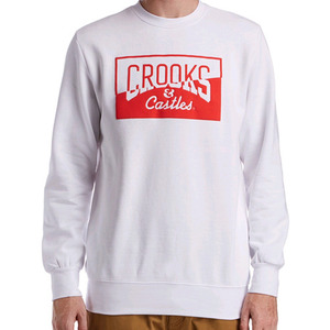 CROOKS & CASTLES Mens Knit Crew Sweatshirt - Chopper (White)