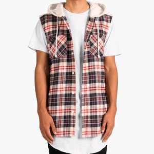 DOPE Cut-Off Flannel Hoodie (Off-White)