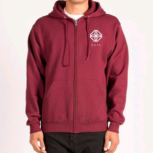 DOPE Monogram Zip-Up Hoodie (Burgundy)