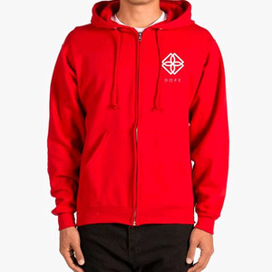 DOPE Monogram Zip-Up Hoodie (RED)