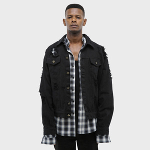 OBH 16-17 DESTROYED DENIM JACKET