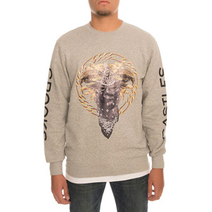 CROOKS & CASTLES Mens Knit Crew Sweatshirt - Cultivated Lux Medusa (GREY)