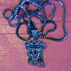 Design By TSS MINI JESUS NECKLACE - GUNMETAL BLACK