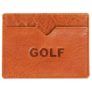 GOLF WANG GOLF CARD WALLET BROWN
