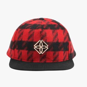DOPE Plaid Monogram Snapback (BLACK/RED)