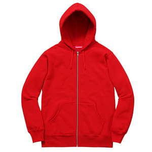 SUPREME RIB LOGO ZIP UP SWEAT (RED)