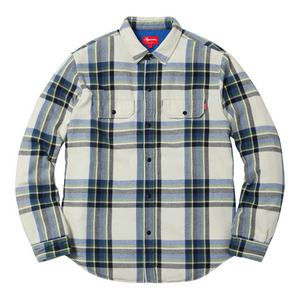 SUPREME PILE LINED PLAID FLANNEL SHIRT (OFF WHITE)
