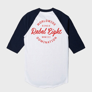 REBEL8 WORLDWIDE DOMINATION RAGLAN (WHITE)