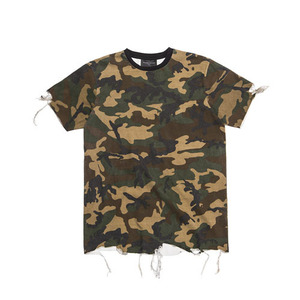 BLACKSCALE DESTROYED T-SHIRT WOODLAND CAMO