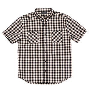 [2017 Summer] BLACKSCALE Gingham Plaid Short Sleeve Button Down Black