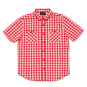 [2017 Summer] BLACKSCALE Gingham Plaid Short Sleeve Button Down Red