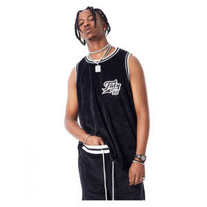FNTY Velvet Basketball Jersey Tank Top Black