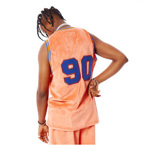 FNTY Velvet Basketball Jersey Tank Top Orange