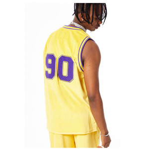 FNTY Velvet Basketball Jersey Tank Top Yellow