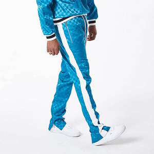 FNTY Satin checkerboard pants BLUE