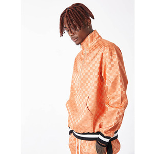 FNTY Satin checkboard half-zip up ORANGE